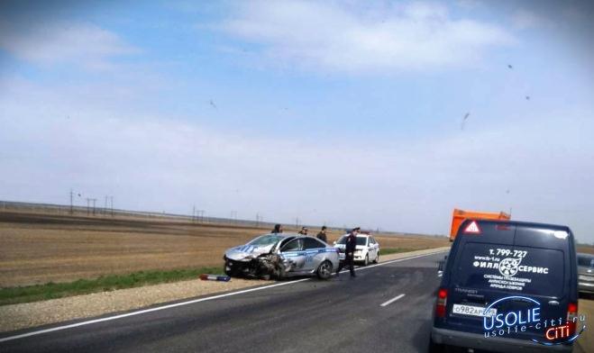 В Усольском районе водитель Toyota после погони спровоцировал ДТП с экипажем ГИБДД (Видео)