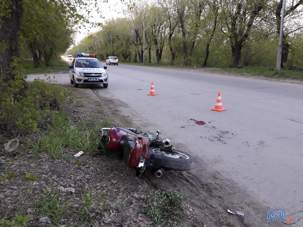В Усолье несовершеннолетний мотоциклист на Kawasaki влетел в железобетонный столб