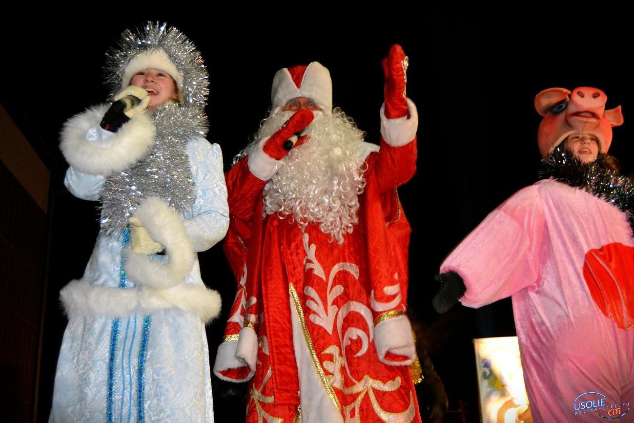 Дед Мороз в хромовых сапогах зажег главную елку Усолья