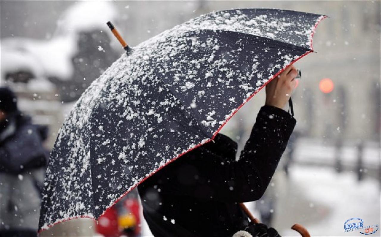Холодный фронт со снегом  идет на Усолье