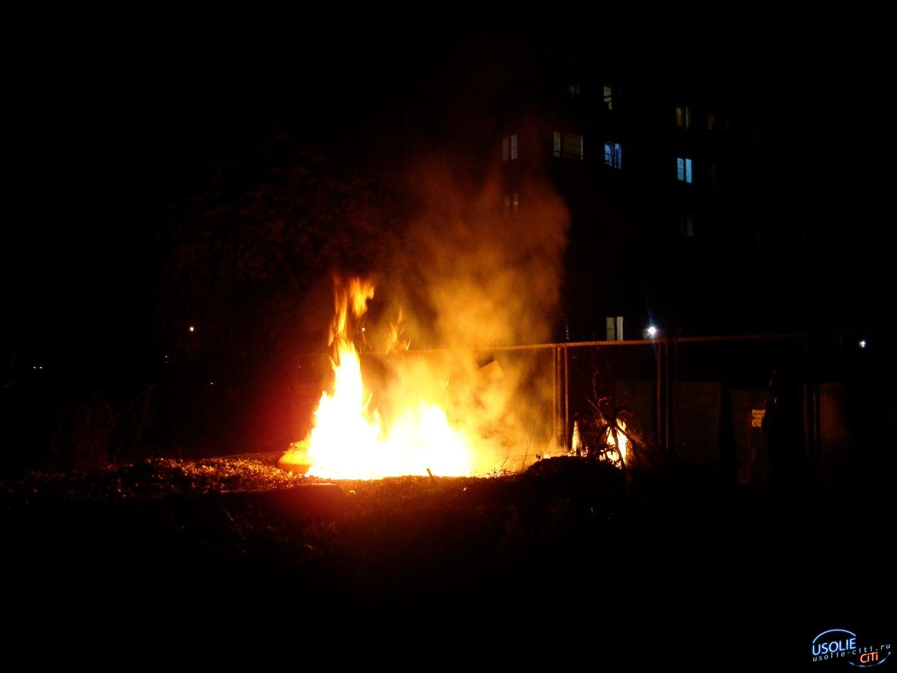 В Усолье вечером подожгли свалку