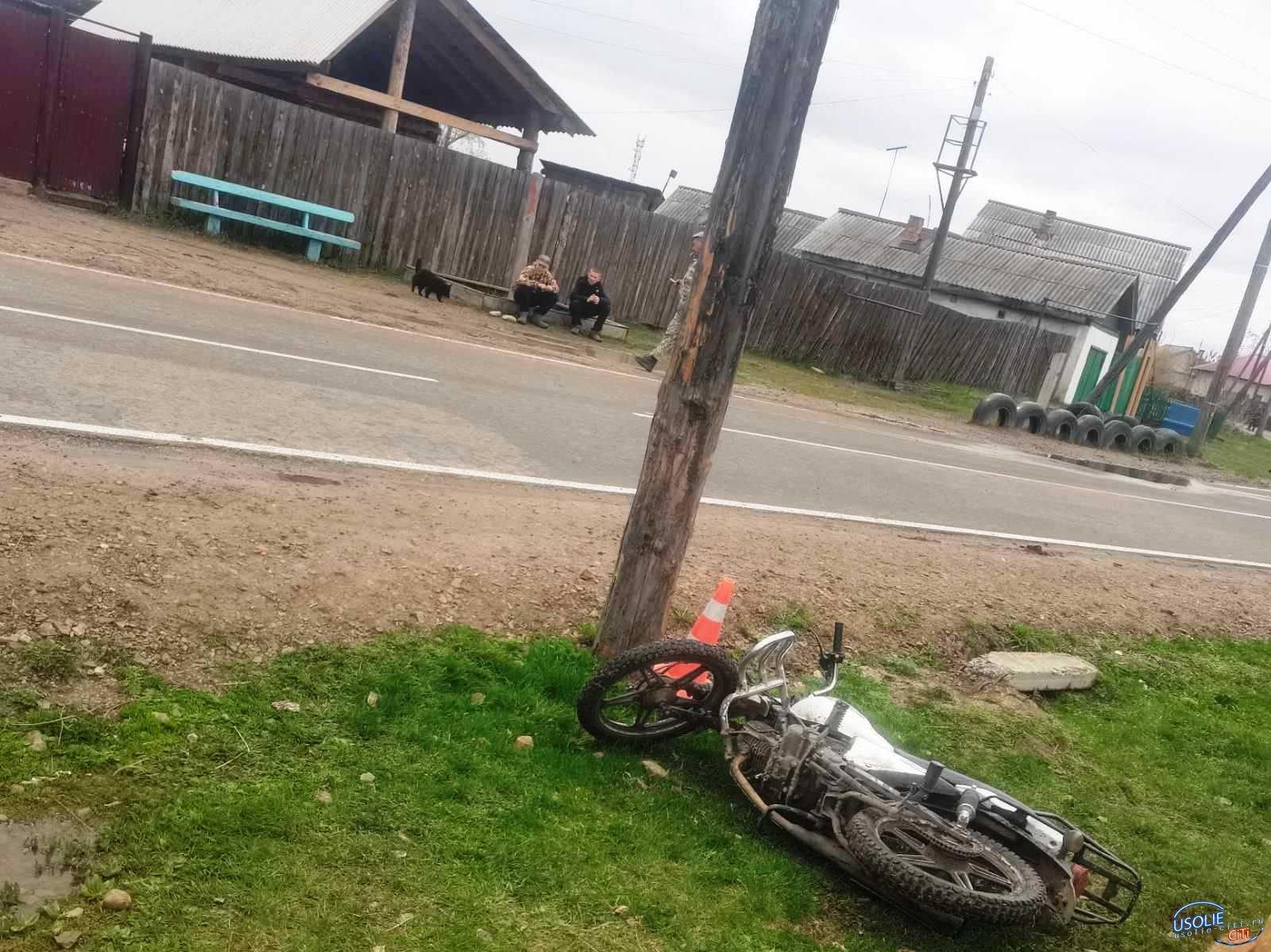 Девятиклассник в Усольском районе влетел в столб на мотоцикле